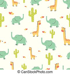 seamless pattern with giraffes