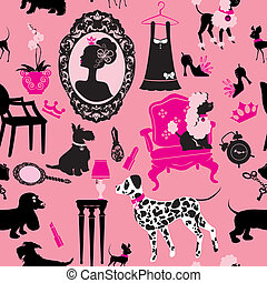 Seamless pattern with glamour accessories, furniture, girl portrait and dogs (Dalmatian, dachshund, terrier, poodle, chihuahua)  - black silhouettes on pink background. Ready to use as swatch.