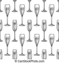 Seamless pattern with glass of champagne.