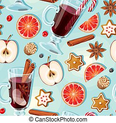 Seamless pattern with glass of mulled wine