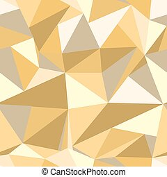 Seamless pattern with glitter gold triangles. Abstract mosaic background. Geometric vector illustration. Yellow backdrop.