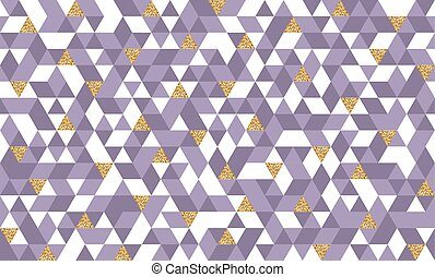 Seamless pattern with glitter gold triangles