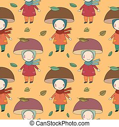 Seamless pattern with gnome mushroom. Cheerful fungus. Beautiful autumn.