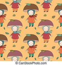 Seamless pattern with gnome mushroom. Cheerful fungus. Beautiful autumn.