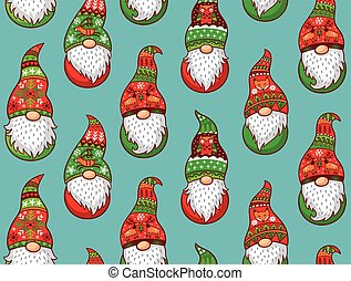Seamless pattern with gnomes