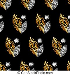 Seamless pattern with gold and silver leaves, precious stones on black background. Vector