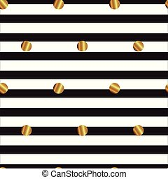 seamless pattern with gold circles on striped background