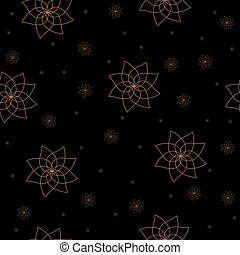 Seamless pattern with gold flowers on black background