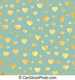 Seamless pattern with gold foil hearts. vector