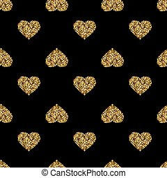 Seamless pattern with gold glitter hearts on black background