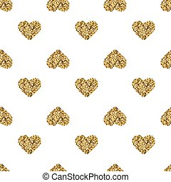 Seamless pattern with gold glitter hearts on white background