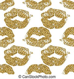 Seamless pattern with gold glitter lips prints on white background.