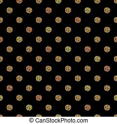 Seamless pattern with gold glitter polka dot ornament on black background