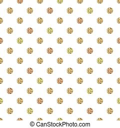 Seamless pattern with gold glitter polka dot ornament on white background