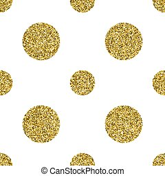 Seamless pattern with gold glitter textured circle on the white background