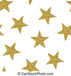 Seamless pattern with gold glitter textured stars