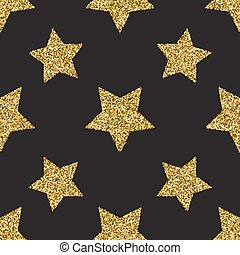 Seamless pattern with gold glitter textured stars on the dark background