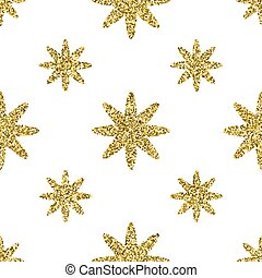 Seamless pattern with gold glitter textured stars on the white background