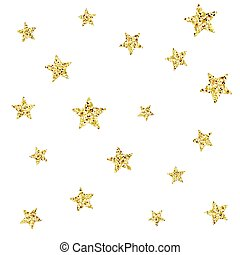 Seamless pattern with gold glitter textured stars.