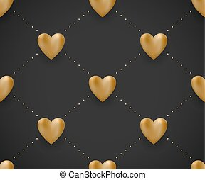 Seamless pattern with gold hearts on a black background for Valentine Day. Vector Illustration.