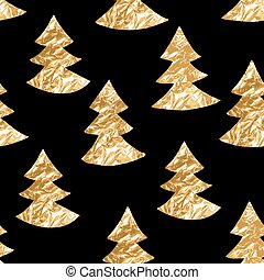 Seamless pattern with gold leaf textured spruces on the black background