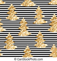 Seamless pattern with gold leaf textured spruces on the striped background