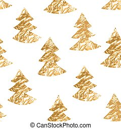 Seamless pattern with gold leaf textured spruces on the white background