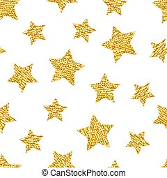 Seamless pattern with gold shine glitter stars on white background.