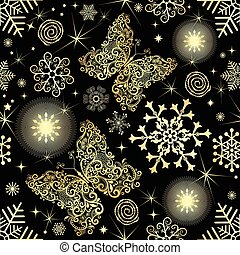 Seamless pattern with gold snowflakes and butterflies
