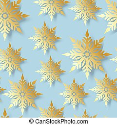 seamless pattern with gold snowflakes on blue