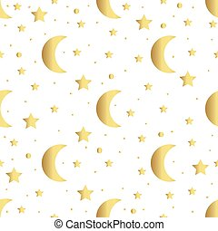 Seamless pattern with gold stars and moon. Vector illustration