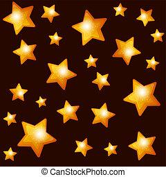 Seamless Pattern with Gold Stars on Dark Background.