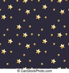 Seamless pattern with gold stars on dark grey background. Vector illustration.