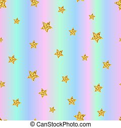 Seamless pattern with gold stars on holographic background. Vect