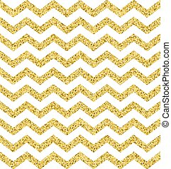 Seamless pattern with gold zigzag glitter textured stripes