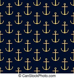 Seamless pattern with golden anchors