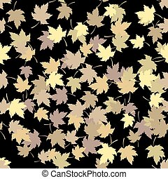 Seamless pattern with golden autumn leaves on black background. Vector illustration.