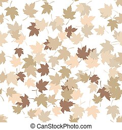 Seamless pattern with golden autumn leaves on white background. Vector illustration.