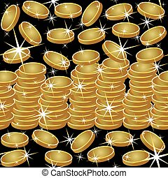 Seamless pattern with golden coins