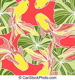 Seamless pattern with golden fishes.