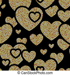 Seamless pattern with golden hearts, vector