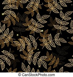 Seamless pattern with golden leaves on a black background. Vector graphics.