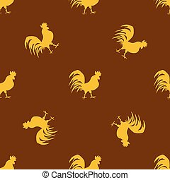 Seamless pattern with golden roosters on brown background