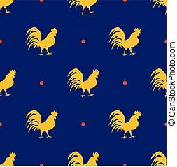 Seamless pattern with golden roosters with red spots on blue background