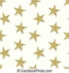 Seamless pattern with golden stars. Glittering texture with...