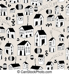 seamless pattern with graphic house
