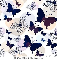 Seamless pattern with graphic vintage butterflies