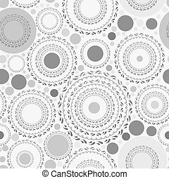 Seamless pattern with gray dots and circles on white background. Vector
