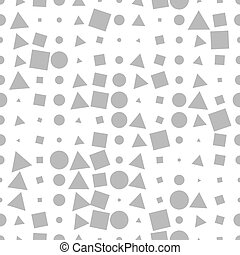 Seamless pattern with gray geometric shapes on a white background.