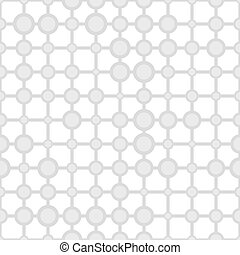 Seamless pattern with gray rings on a white background.